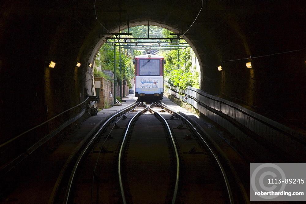 Capri Funicolare Cable Railway Car in Tunnel, Isola d'Capri Island, Capri, Campania, Italy