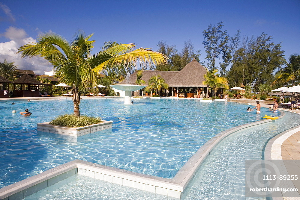 Children Playing in Swimming Pool, Moevenpick Resort and Spa Mauritius, Bel Ombre, Savanne District, Mauritius