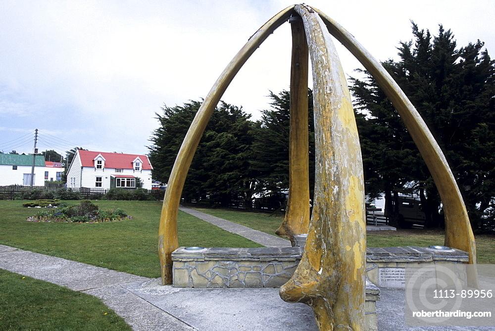 Whale Bone Sculpture, Stanley, East Falkland, Falkland Islands