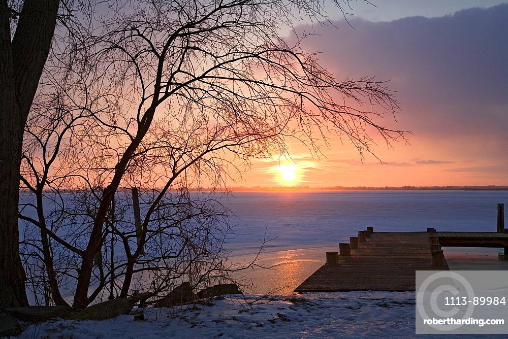 Sunset in winter, Usedom, Mecklenburg Vorpommern, Germany