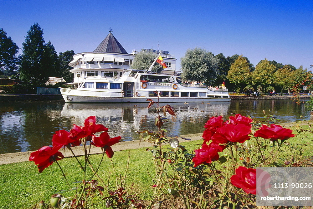 Excursion Boat, Station, Muehlheim, Ruhr Valley, Ruhr, Northrhine Westphalia, Germany