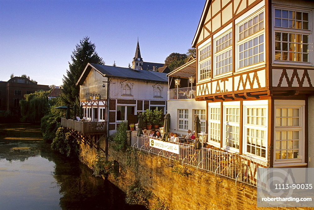 Cafe overlooking the river, Bridge Cafe, Kettwig, Essen, Ruhr Valley, Ruhr, Northrhine Westphalia, Germany