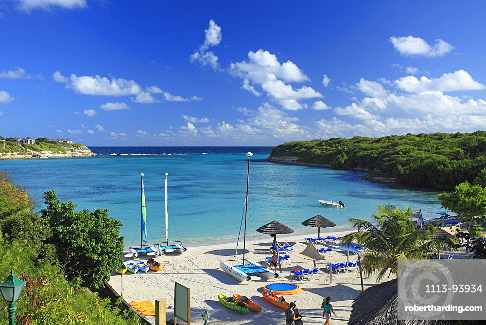 People on the beach in a bay, The Veranda Resort & Spa, Antigua, West Indies, Caribbean, Central America, America