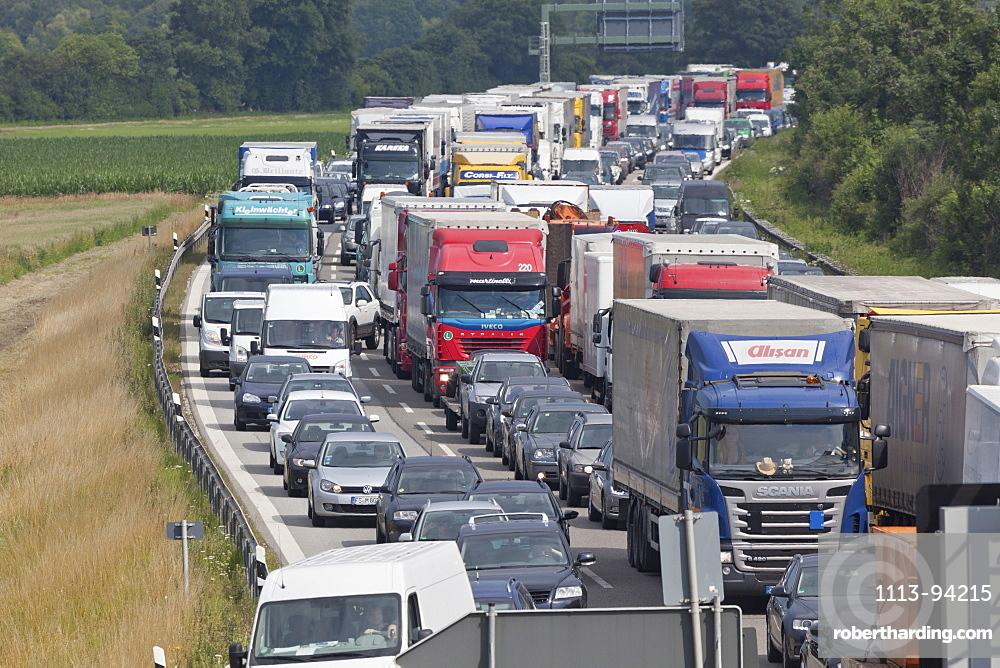 Traffic at a standstill on a German Autobahn, traffic jam, bavaria, Germany