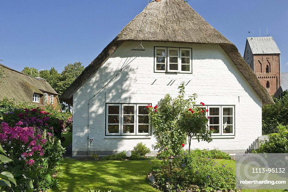House with thatched roof and garden, Nieblum, Foehr, North Frisian Islands, Schleswig-Holstein, Germany, Europe