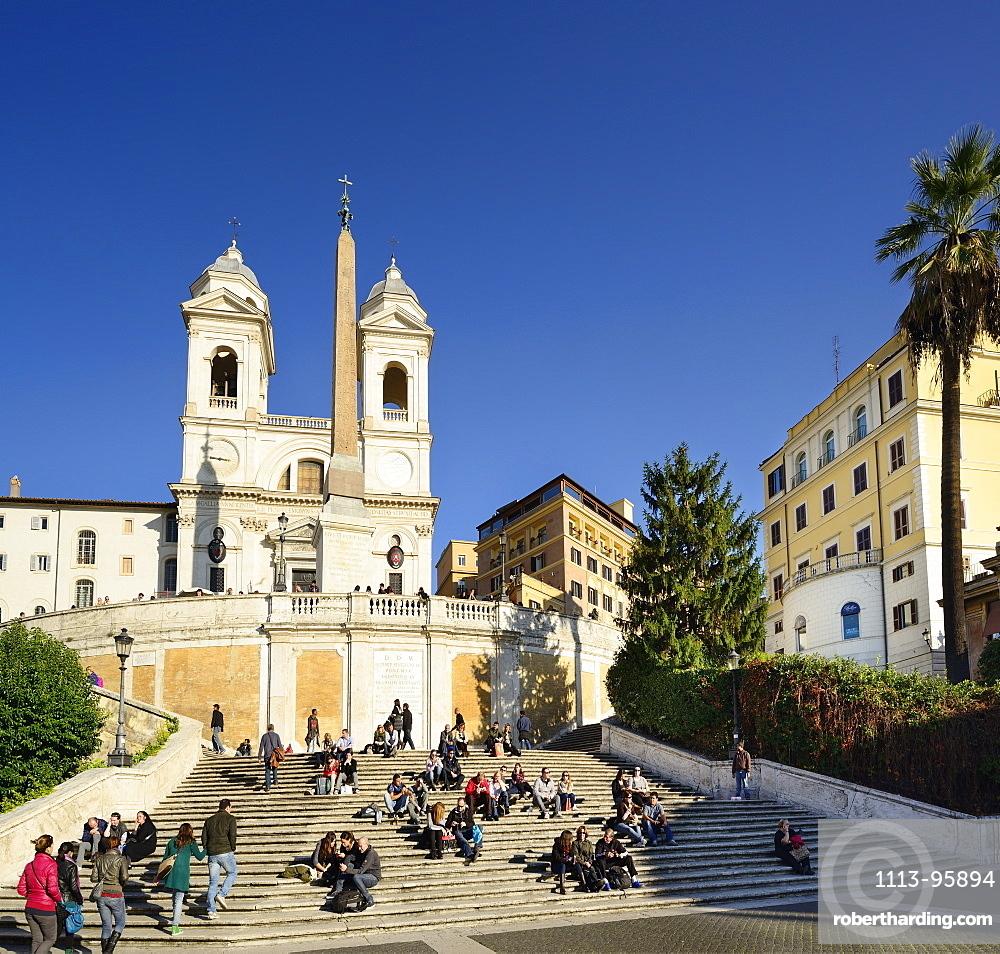 Spanish Steps, Scalinata della Trinita dei Monti, with church Santissima Trinita dei Monti, UNESCO World Heritage Site Rome, Rome, Latium, Lazio, Italy