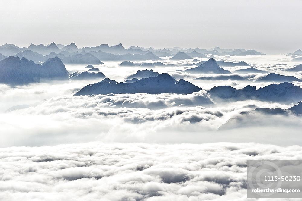 view from the summit of the Zugspitze, Garmisch-Partenkirchen, Bavaria, Germany