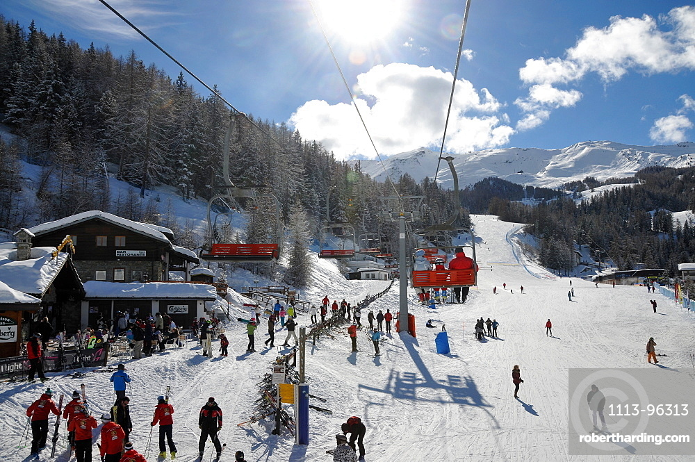 At Pila ski resort over Aosta, Aosta Valley, Italy