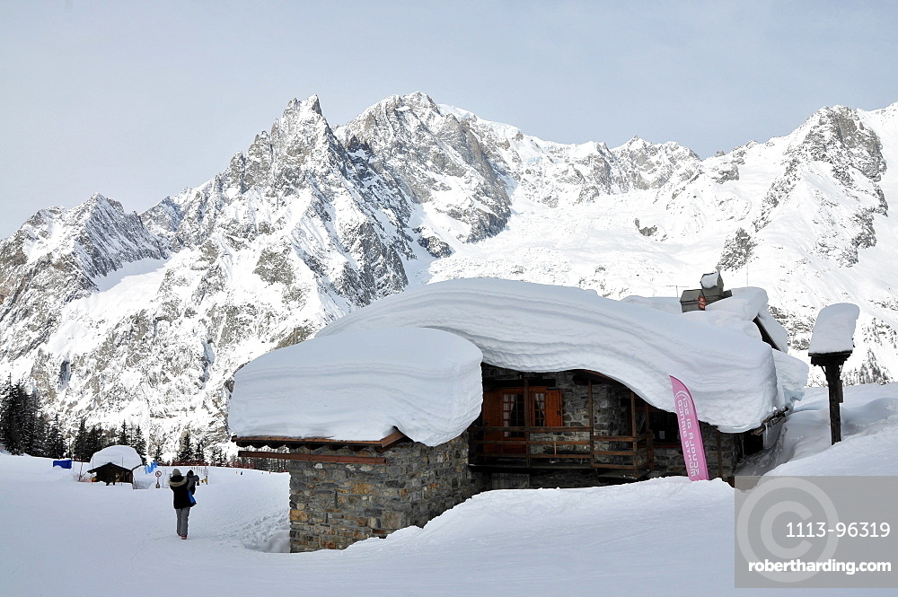 In the ski resort over Courmayeur with Mont Blanc, Aosta Valley, Italy