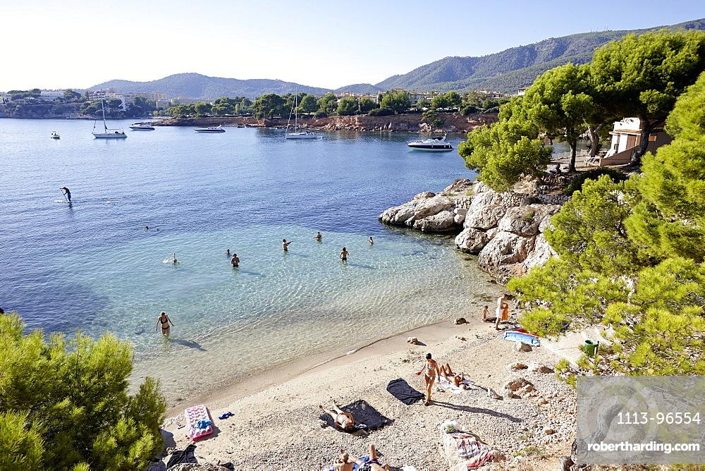 Beach west of Punta Negra H10 Hotel, near Portals Nous, west of Palma, Mallorca, Balearic Islands, Spain