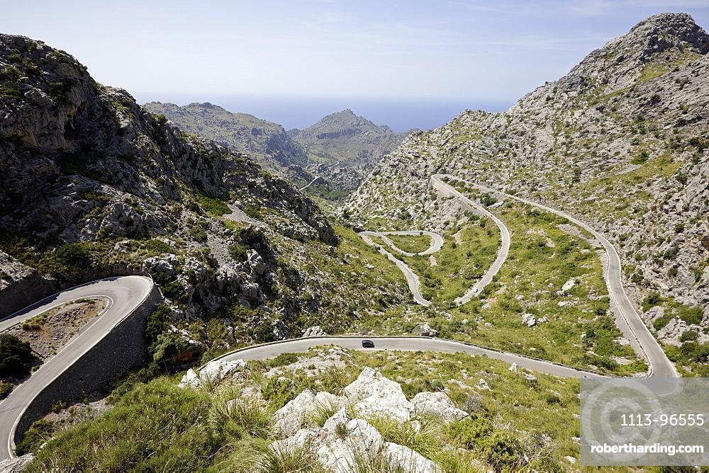 Legendary road 'The Snake' to Sa Calobra, MA-2141, Tramuntana mountains, Mallorca, Balearic Islands, Spain