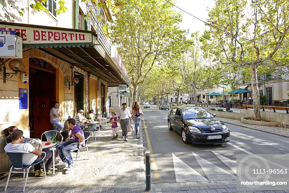 Cafe Deportiu, main road lined with sycamore trees, Passeo, Carrer de Joan Rivtort, Esporles, north of Palma, Mallorca, Balearic Islands, Spain