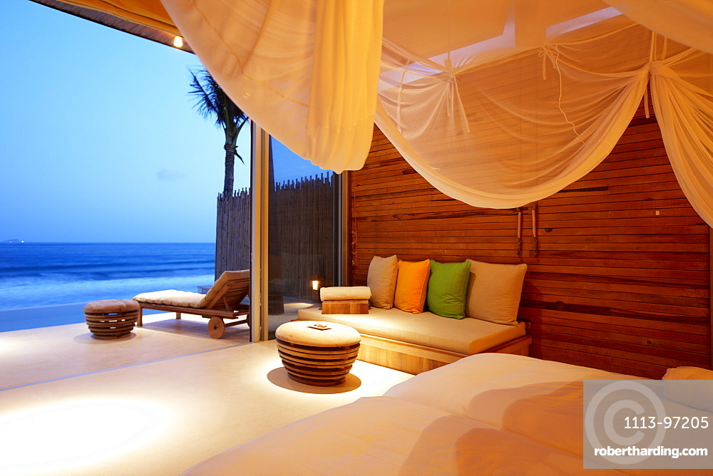 Seafront bungalow with pool at beach, Dat Doc Beach, Con Dao Island, Con Dao National Park, Ba Ria-Vung Tau Province, Vietnam