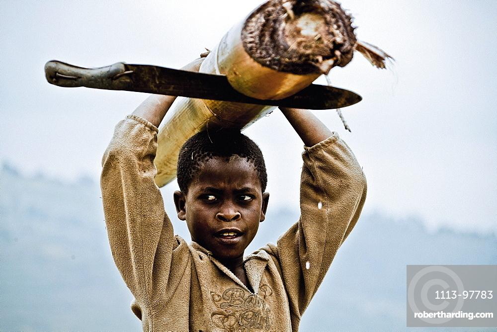 Boy carrying a banana tree and machete, Lake Buyonyi, Uganda, Africa