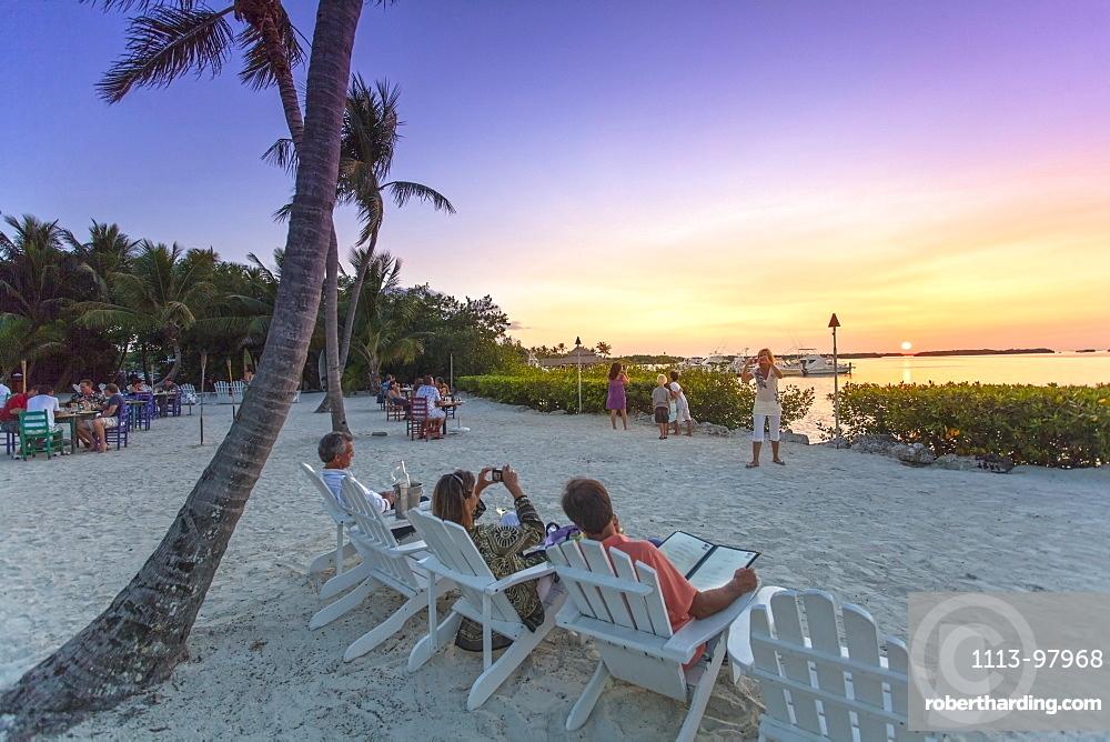Sunset at restaurant Morada Bay, Islamorada, Florida Keys, Florida, USA