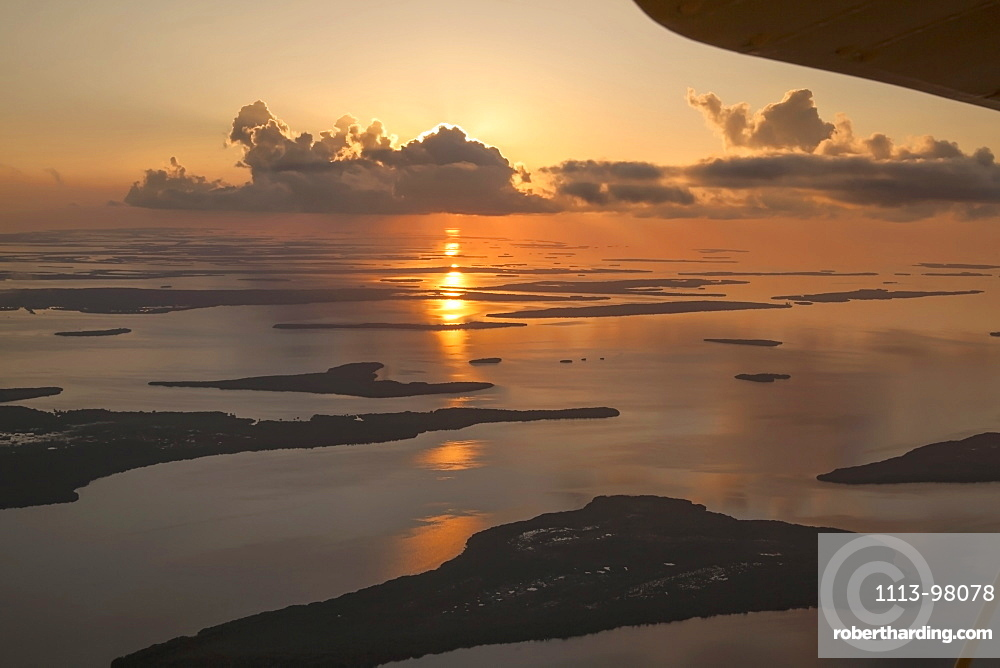 Aerial view of the islands of Florida Keys at sunset, Florida, USA