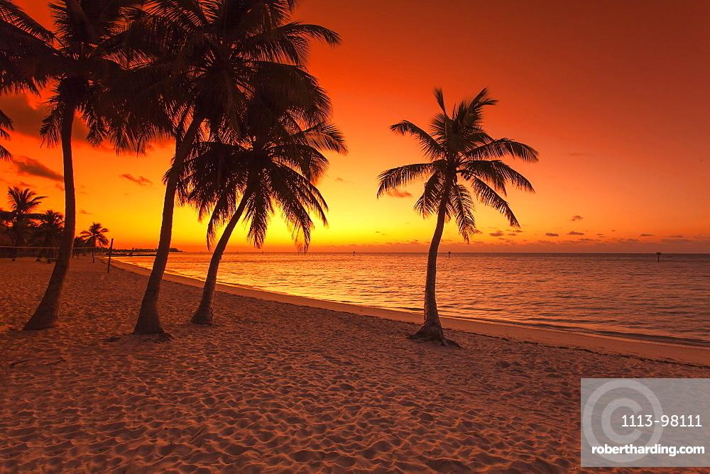 Morning impression at sunrise on Key West Smathers Beach, Key West, Florida Keys, Florida, USA