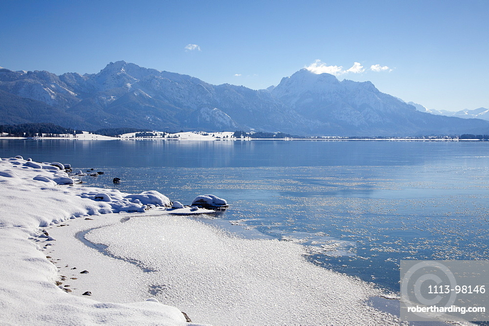 Lake Forggensee with view to the Allgaeu Alps with Tegelberg and Saeuling, Allgaeu, Bavaria, Germany