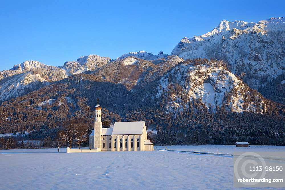 St Coloman pilgrimage church at Schwangau near Fuessen, Allgaeu, Bavaria, Germany