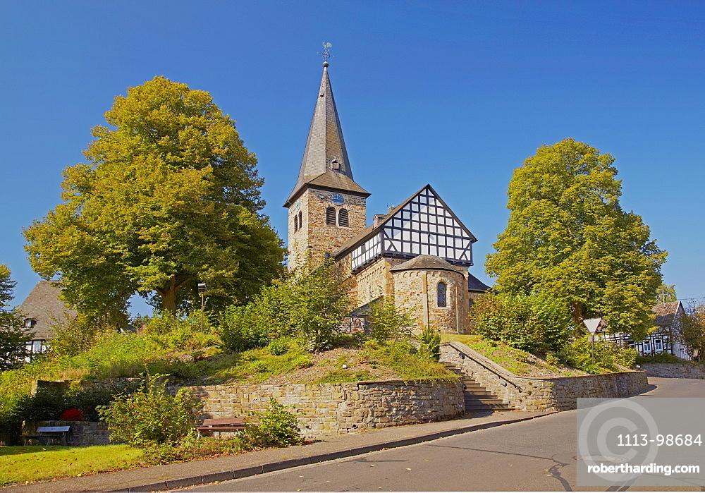 Roman church from about 1200 in Mehren near Altenkirchen, Westerwald, Rhineland-Palatinate, Germany, Europe
