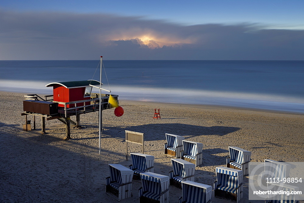 Beach chairs in the moonlight, Kampen, Sylt, Schleswig-Holstein, Germany