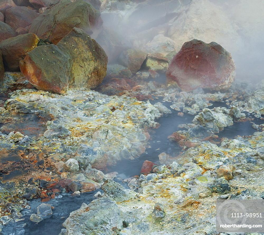 Steam from a hot spring at Krisuvik, Reykjanes, Iceland