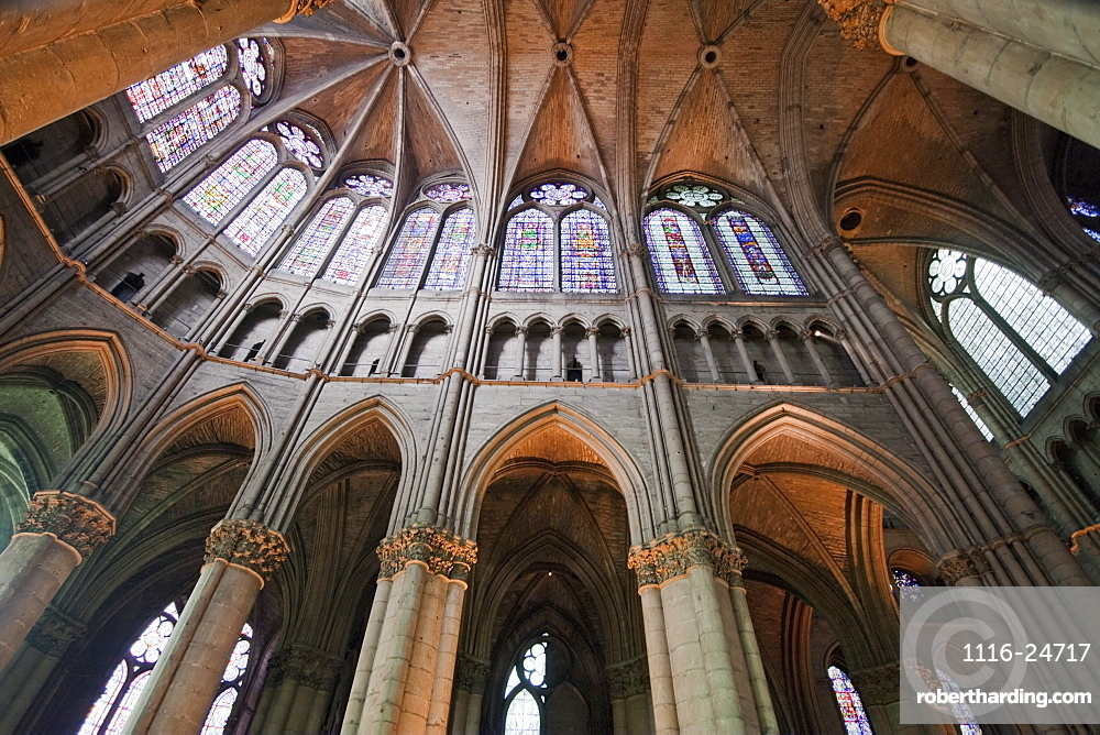 Stained glass windows of the choir of Notre-Dame de Reims Cathedral, Reims, Marne, France