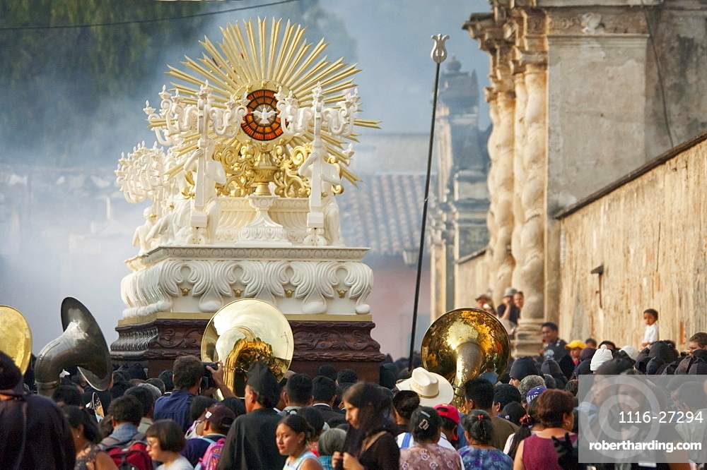 People following the anda (float) of the sorrowful Virgin Mary during the Holy Burial Procession on Good Friday in Antigua Guatemala, Sacatepéquez, Guatemala