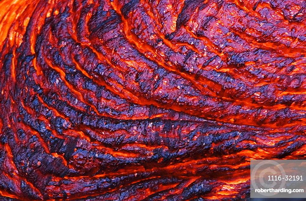 Hawaii, Big Island, Hawaii Volcanoes National Park, Kilauea Volcano, Detail of molten lava.