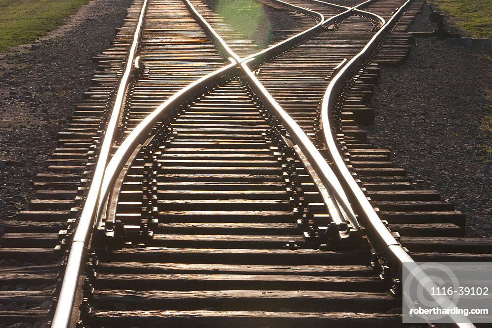 Railway Track Along The 'selektionsrampe', The Platform Where People Where Selected To Die In The Gas Chambers Immediately Or To Work To Death At The Auschwitz-Birkenau Concentration Camp, Oswiecim, Malopolska, Poland