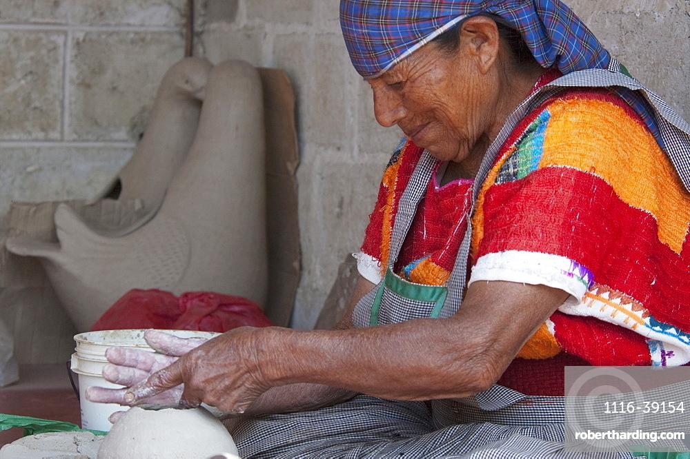 Tzeltal Maya Woman Potter Working The Clay, Amatenango Del Valle, Chiapas, Mexico