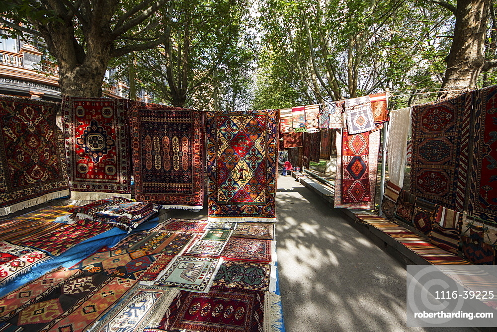Traditional carpets for sale at the Vernissage Market, Yerevan, Armenia
