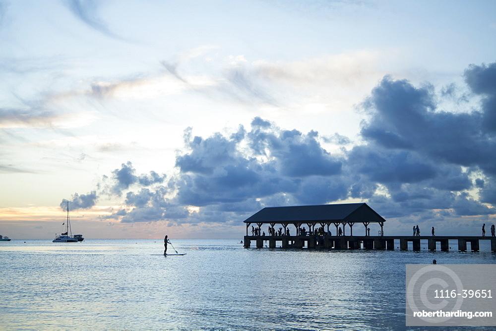 Tourists on Hanalei pier at sunset, Hanalei, Kauai, Hawaii, United States of America, Hanalei, Kauai, Hawaii, United States of America