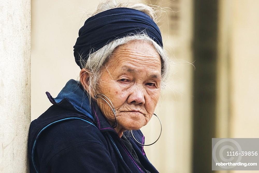 Portrait of a senior Hmong woman, Sapa, Lao Cai, Vietnam