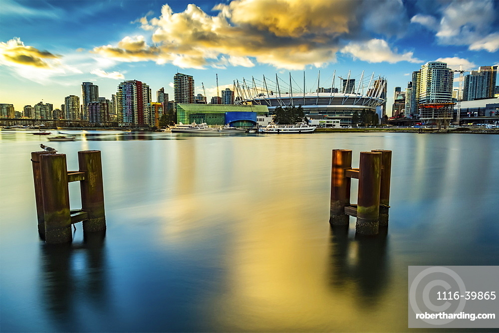 BC Place and condominiums along the waterfront, Vancouver, British Columbia, Canada