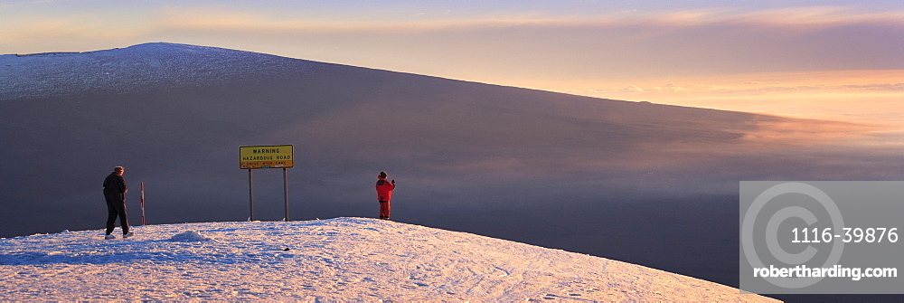 Awaiting sunset on top of Mauna Kea with Mauna Loa in the distance, Island of Hawaii, Hawaii, United States of America