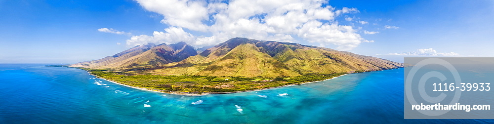 Aerial view of West Maui off Ukumehame Beach Park, Lahaina, Hawaii, United States of America