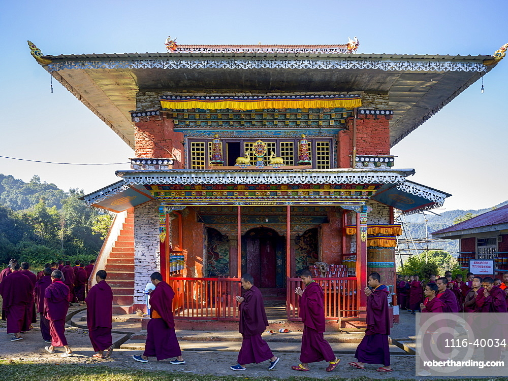 Buddhist monks at the Rinchenpong Monastery, Sikkim, India