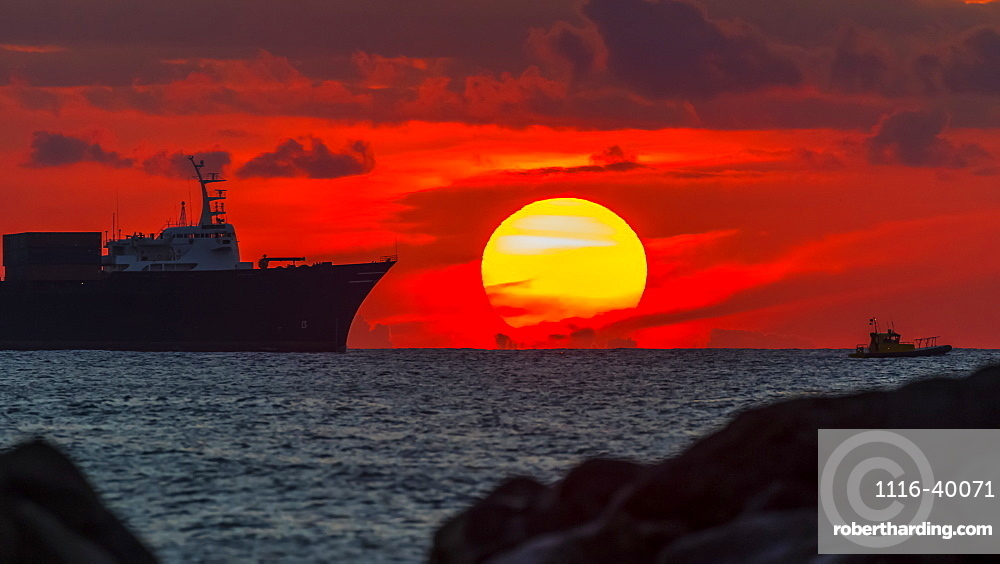 Container ship Horizon Reliance approaching Honolulu at sunset viewed from Magic Island, Ala Monana beach park, Honolulu, Oahu, Hawaii, United States of America