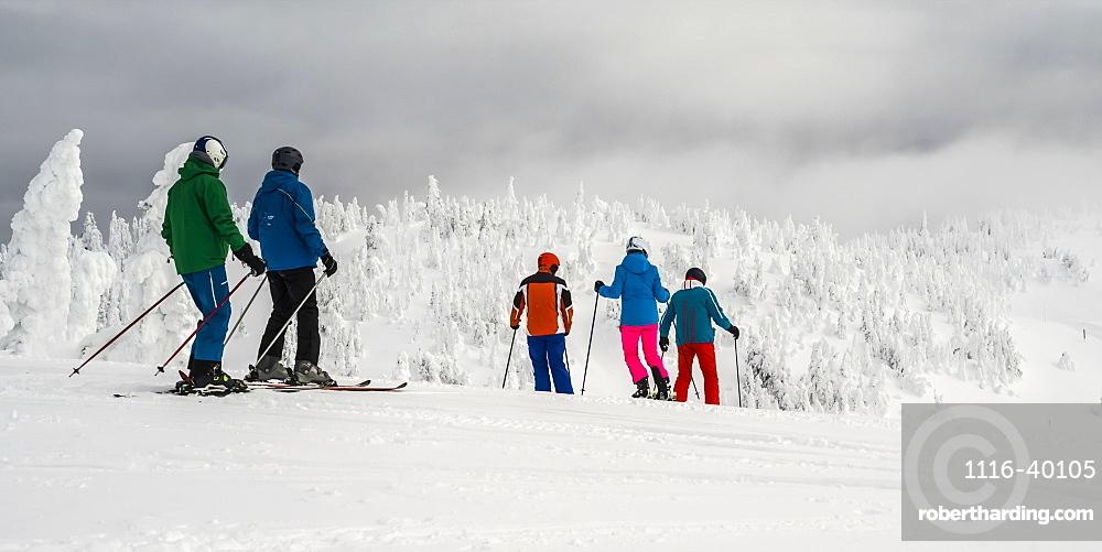 Skiers at Sun Peaks ski resort, Kamloops, British Columbia, Canada