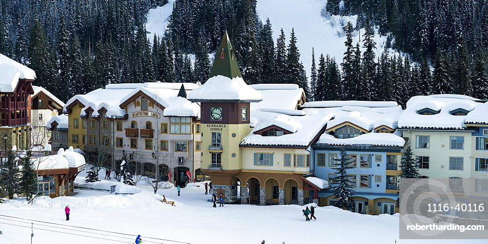 Colourful buildings at the Sun Peaks ski resort, Kamloops, British Columbia, Canada
