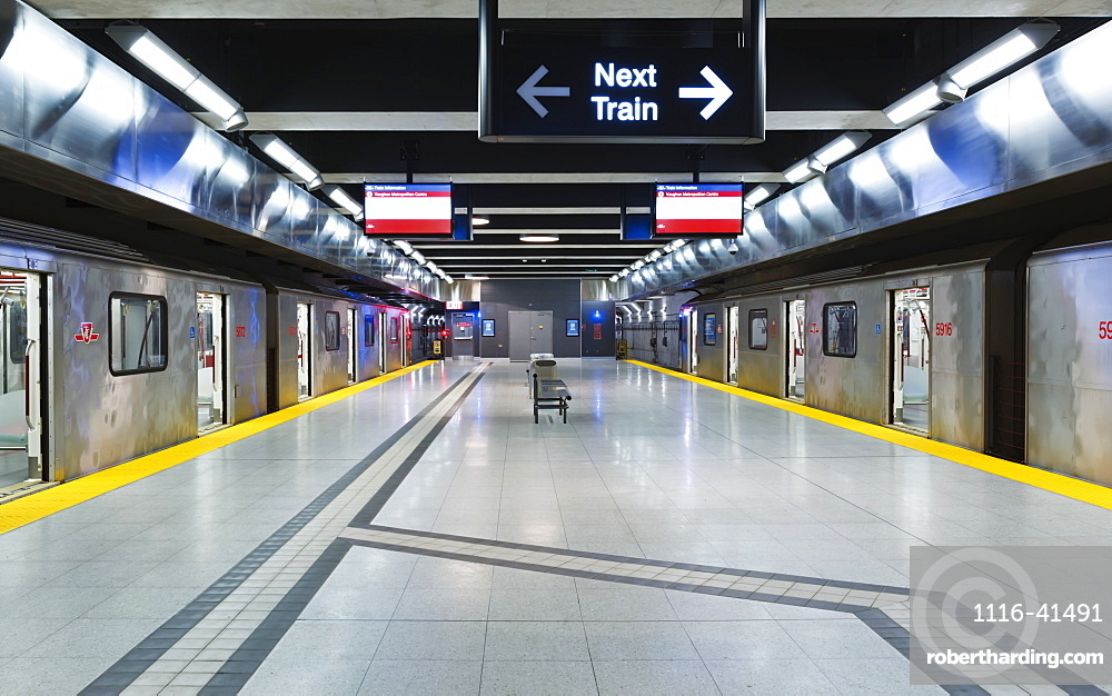 Interior trains at the Vaughan Metropolitan Centre subway station on the Yonge-University line, Toronto, Ontario, Canada