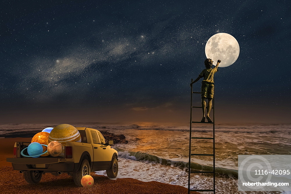 Composite image of a boy standing on a ladder touching the moon with a pickup truck full of planets at the edge of the ocean