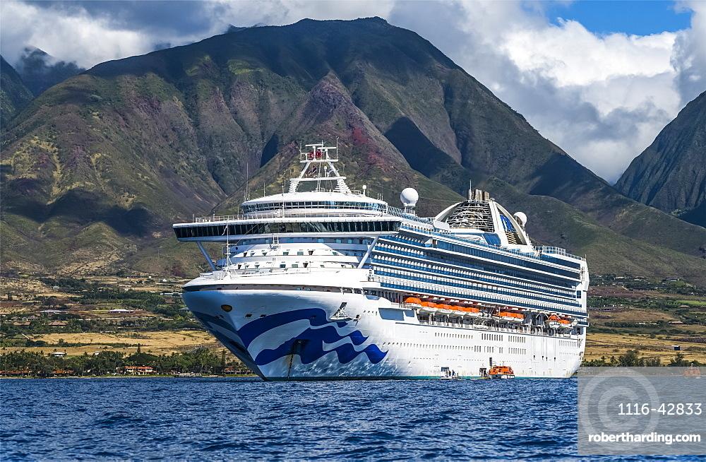 Grand Princess Cruise Ship moored along the coastline of Lahaina, Maui, Lahaina, Maui, Hawaii, United States of America