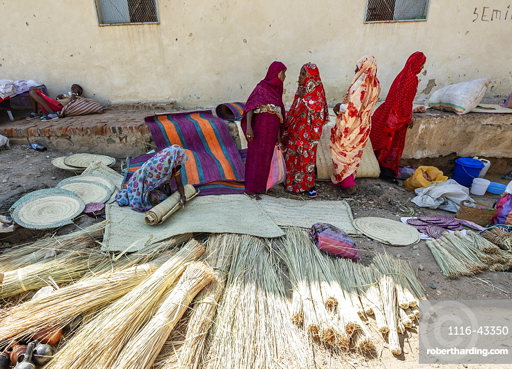 Basket vendors at the open air market, Keren, Anseba Region, Eritrea