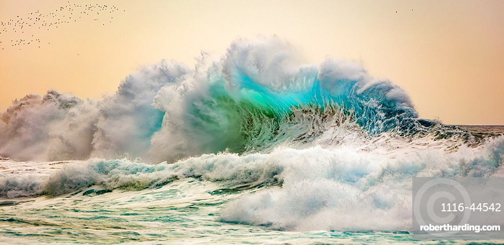 Waves off the Na Pali coast of Kauai, Kauai, Hawaii, United States of America
