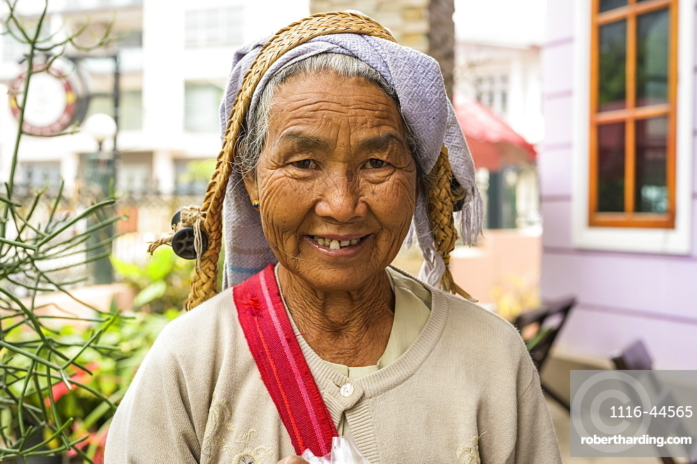 Portrait of a senior woman from the Tanuu tribe, Taungyii, Shan State, Myanmar