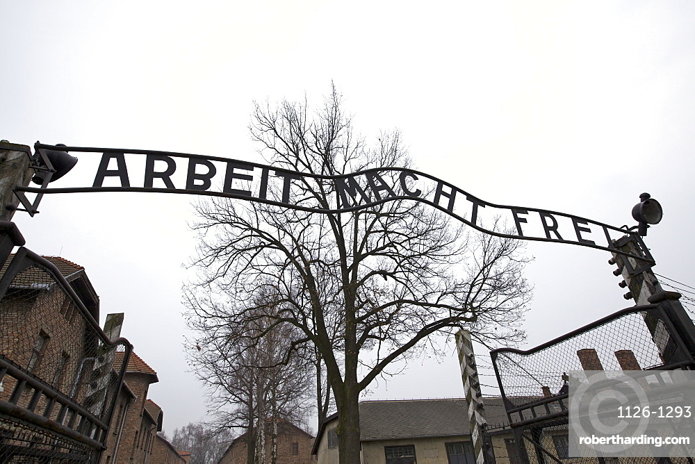 Entrance to Auschwitz Concentration Camp, Oswiecim, Poland, Europe