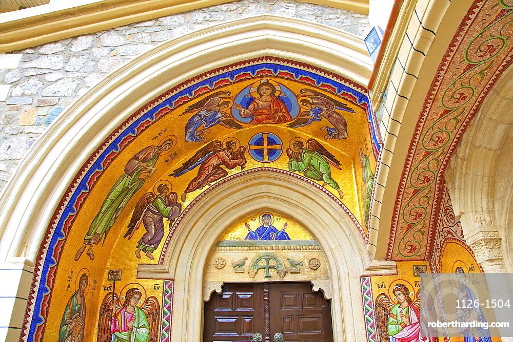 Mosaic depiction of the Vigin Mary, Kykkos Monastery, Kykkos, Troodos, Cyprus, Eastern Mediterranean, Europe