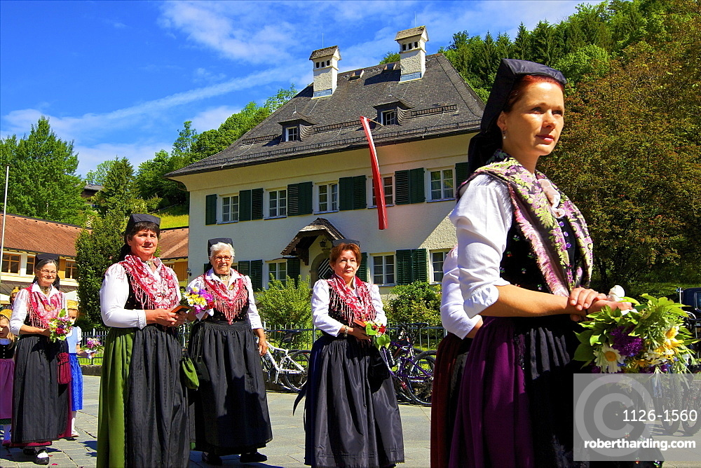 Participants in the Feast of Corpus Christi Celebrations in their traditional dress, St. Wolfgang, Wolfgangsee Lake, Austria, Europe